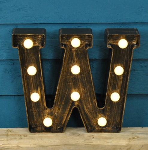 Letter W- Battery Operated Lumiere